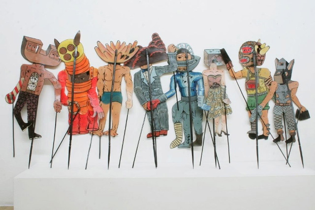 "Wayang Kulit (shadow puppet) characters from Eko Nugroho's ""Hidden Violence"" show"