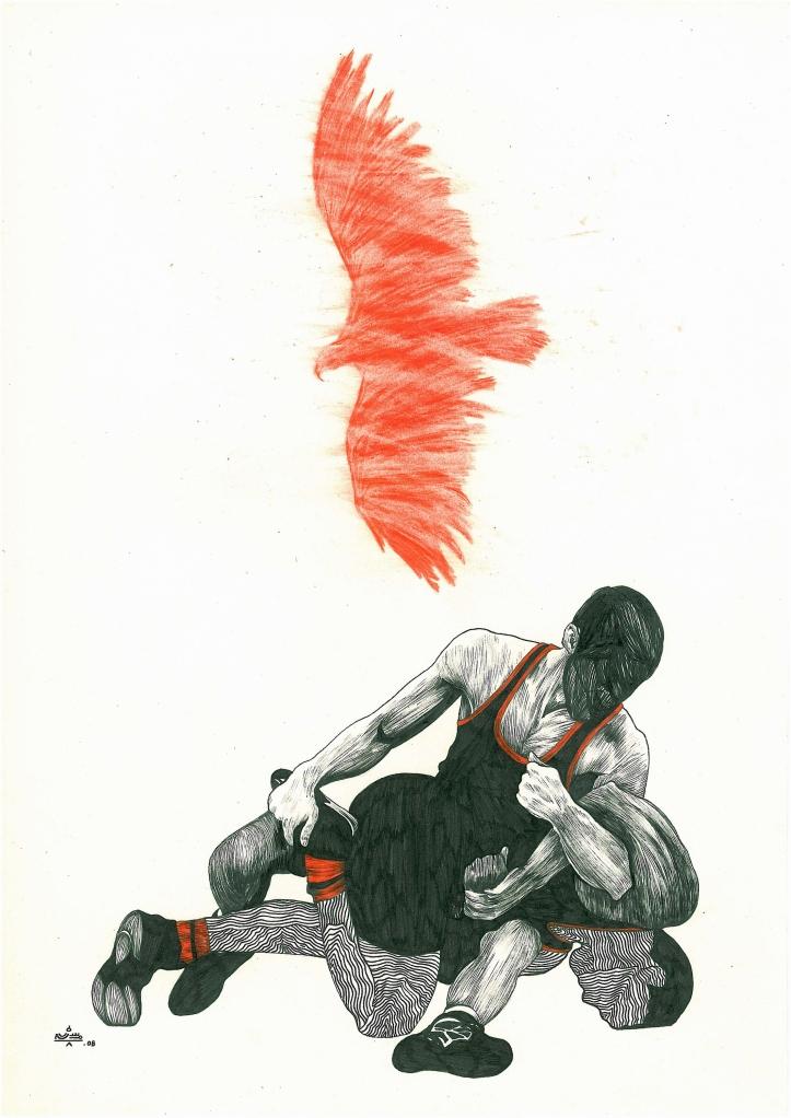 Mohsen Ahmadvand, Wrestlers, 2008, mixed media, courtesy of artist, Thomas Erben and XVA galleries