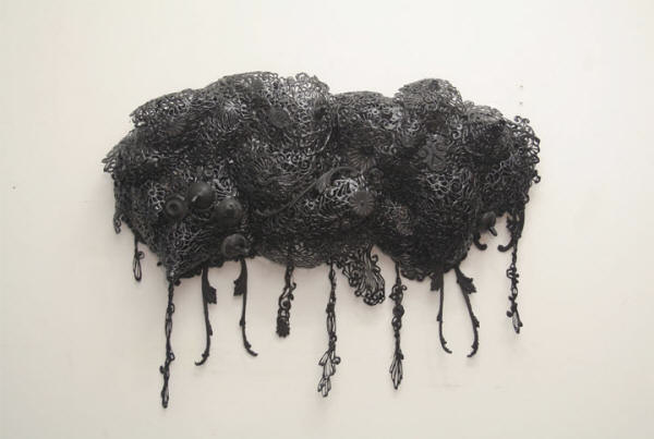 Seung WookSim, black mutated ornamentation 2007, hot glue on steel frame