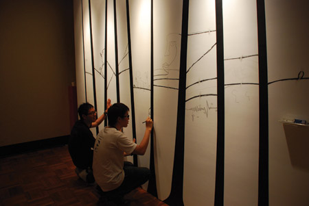 Tseng Wei Hao, Speaker Tree, Sound installation, ink, speaker, pencil 2006