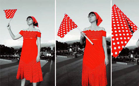 Red Flag, by Oksana Shatalova, 2008. 5 lambda prints on dibond 180 x 155cm each. Rudny, Kazakhstan.