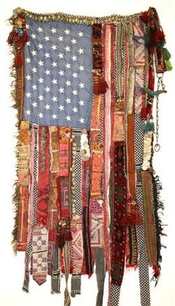 Sara Rahbar, 'Flag #5', 2007. Textile/mixed media, 65x35 inches