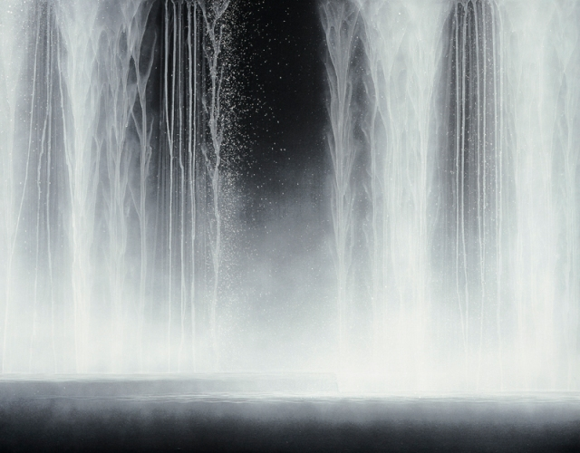 Hiroshi Senju, Waterfall 2009, Natural pigments on Japanese mulberry paper,   90.0 x 116.7 cm