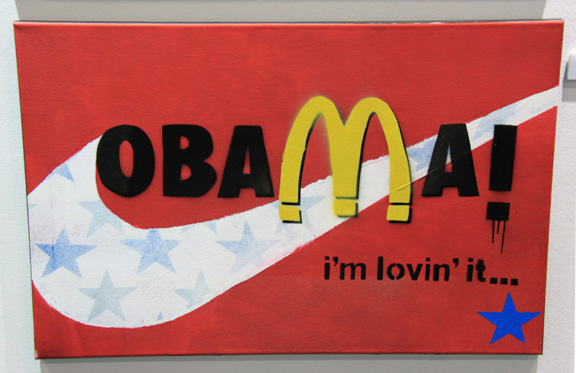Brand Obama!, by Hughie Doherty, 2009. Mixed Media. 76x50 cm.