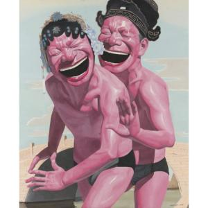 Yue Minjun, Hats Series - The Lovers, Oil on Canvas