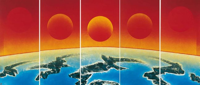 Liu Kuo-sung, Midnight Sun, 2005, ink and colour on paper, on five panels