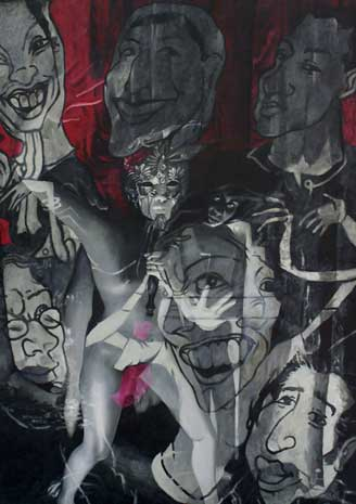 Raghava KK, Many sides of the mask, 2006, Venice-Suite, acrylic on canvas, 36 x 54 inches. Image courtesy of the artist.