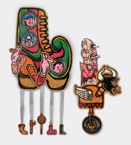 The Marionette Faithful, Screen printing on teakwood, aluminum plate & digital printing on acrylic sheet, 2010, Courtesy of artists and VWFA