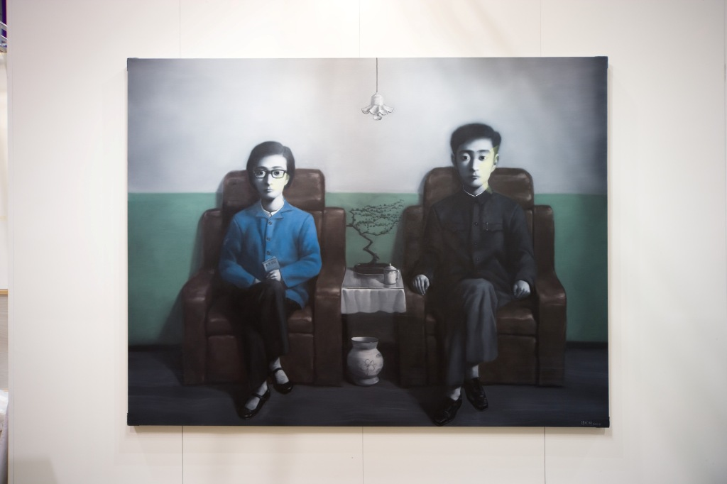 Zhang Xiaogang's Green Wall - Husband and Wife (2010)