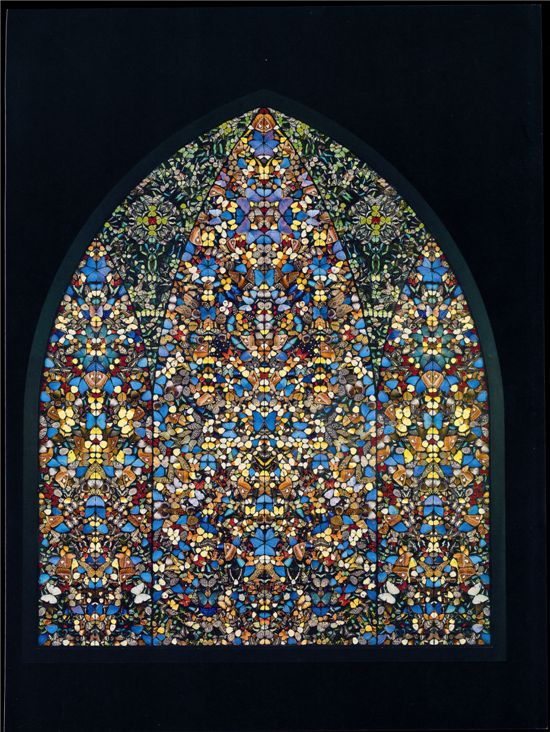 Damien Hirst, The Importance of Elsewhere – The Kingdom of Heaven. 2006. Butterflies and Household paint on canvas. 292x243.9 cm