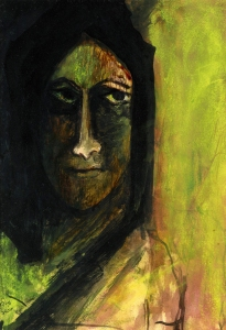 Rabindranath Tagore. Portrait of a woman.