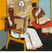 M. F. Husain, 'Kerala - V', serigraphy on paper. Taken from the Saffronart website.