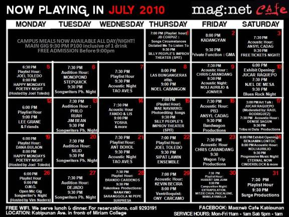 Mag:net gallery weekly updated schedule of events. Courtesy Mag:net gallery