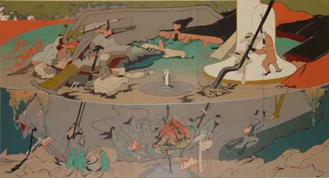 Chen Ching-Yuan, 'We Catch the Land!', 2008, screen printing and acrylic, 270 x 550 cm. Image courtesy of Kuandu Museum of Fine Arts.