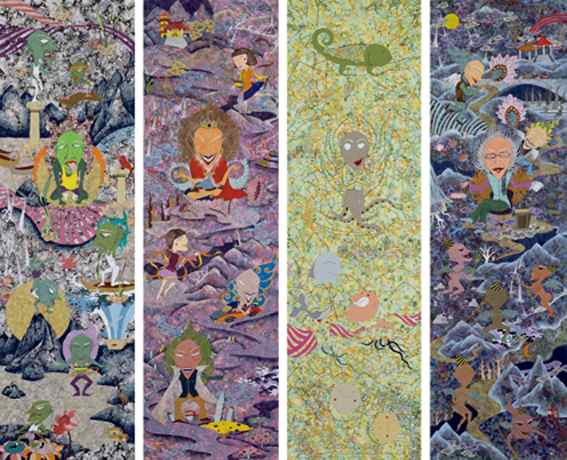 Hua Chien-Ciang, 'The Divine Series', 2006, gauche, 200 × 60 cm (four panels). Images courtesy of Kuandu Museum of Fine Arts.