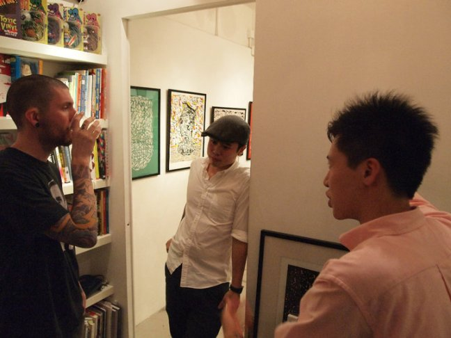 "Jasper Wong (middle) at Above Second's September show ""Nebula"". Image courtesy of Above Second."