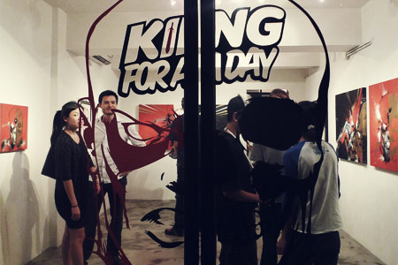 "Hong Kong street art gallery Above Second held exhibition ""King for a Day"" in July this year."