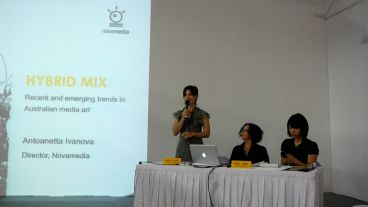 Antoanetta Ivanova speaking at a public lecture on Australian media art at Art Taipei 2010. Image property of Art Radar Asia.