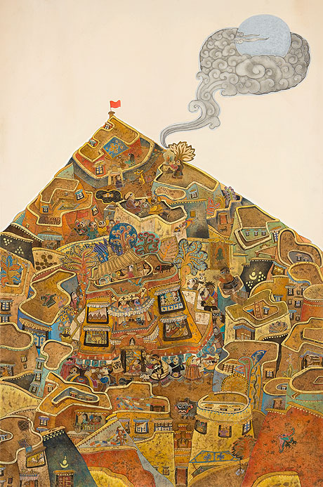 "'We are nearest to the Sun' by Dedron, the only female artist represented in ""Tradition Transformed: Tibetan artists Respond""."