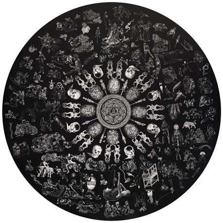 "The holes on 'O Mandala Tantric' by Kesang Lamdark are back-lighted, such that they create a complex mandala pattern composed of images of skulls and animals, erotic Buddhist art imageries and modern pornography. The work touches upon themes of ""debasement of sex in the modern commerce"" and the East-West divide over views on eroticism."