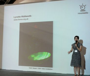 Lynette Wallworth's interactive tactile art, introduced by speaker Antoanetta Ivanova at Art Taipei 2010. Image property of Art Radar Asia.