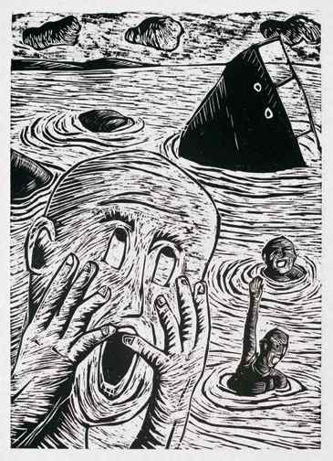 '...oops!!!', 2010, woodcut on paper, 79.5 x 54.5 cm. Image courtesy of VWFA.