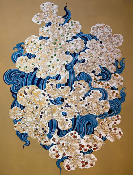 "'Water 1' by Pema Rinzin is a painting of ""curvy, variously patterned shapes gathered into Cubist clusters."""