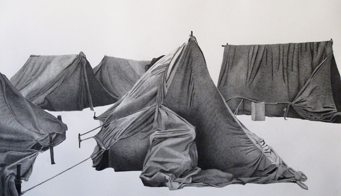 Afruz Amighi,Tent Graphite on paper 96.5 x 127 cm, 2010. Image taken from http://ivde.net/