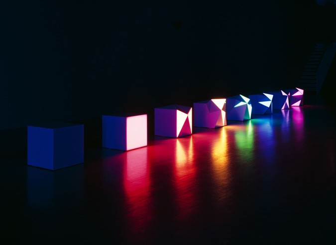Angela Bulloch, 'Progression of 8 Peverted Pixels', 2008,  7 DMX modules, 1 black box module. plexiglas, printed aluminium panels, DMX cables, 1 RGB lighting system DMX controller, size 52 x 52 x 52 to 62 x 70 x 62 cm. Image courtesy of Akbank Art Centre.
