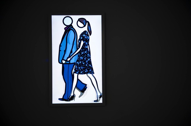 Julian Opie, 'Rod and Verity Walking', 2010, lightbox installation. Image courtesy of Akbank Art Centre.
