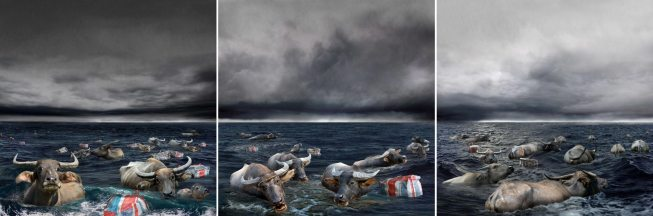 Orang Besar Series: A Rousing Account of Migration in the Language of the Sea, 2010 C-type print, 61 x 61 cm each x 3 panels (triptych), Edition of 8 + 2AP