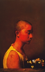 Peng Si, 'Portrait of a Man in Red', 2006, oil on canvas, 188 x 118 cm. Image taken from artnet.com.