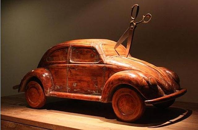 Sudarshan Shetty, 'Untitled' (from the Stab-series), 2009, wood and scissors. Image taken from artnet.com.