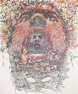 Zakaria Ramhani, 'Faces of the Other', 2008, acrylic on canvas, 240 x 200 cm. Image taken from www.menasart-fair.com.